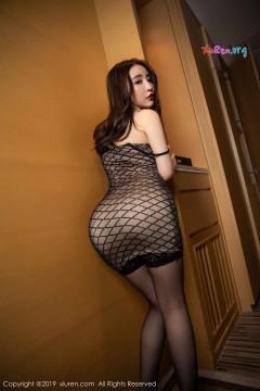 [秀人网XiuRen] N01489 长发肉臀写真模特绯月樱Cherry黑色包臀连身短裙美艳福利私拍 70P
